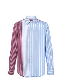 hellblaues vertikal gestreiftes Langarmhemd von Marni