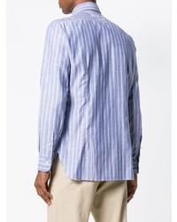 hellblaues vertikal gestreiftes Langarmhemd von Barba