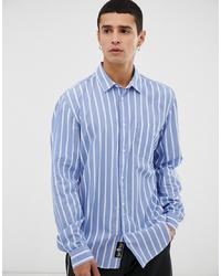 hellblaues vertikal gestreiftes Langarmhemd von Tiger of Sweden Jeans