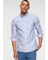 hellblaues vertikal gestreiftes Langarmhemd von Tommy Jeans