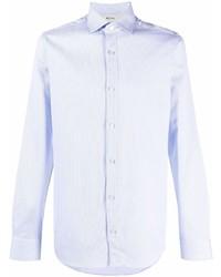 hellblaues vertikal gestreiftes Langarmhemd von Z Zegna