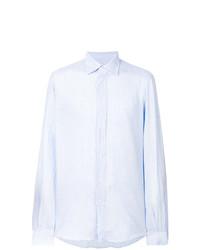 hellblaues vertikal gestreiftes Leinen Langarmhemd von Fashion Clinic Timeless