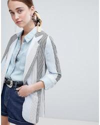 hellblaues vertikal gestreiftes Sakko von New Look