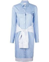 hellblaues vertikal gestreiftes Shirtkleid von Maison Margiela