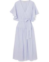hellblaues Wickelkleid aus Baumwolle