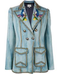 hellblaues Zweireiher-Sakko aus Jeans von Gucci