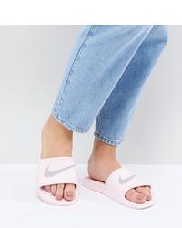 hellviolette flache Sandalen aus Leder von Nike