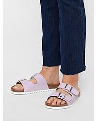 hellviolette flache Sandalen aus Leder von Vero Moda