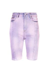 hellviolette Mit Batikmuster Bermuda-Shorts aus Jeans von MSGM