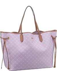 hellviolette Shopper Tasche aus Leder mit Blumenmuster von Joop!
