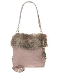 hellviolette verzierte Shopper Tasche aus Leder von Anokhi