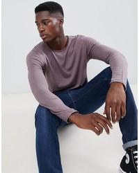 hellvioletter Pullover mit einem Rundhalsausschnitt von Selected Homme