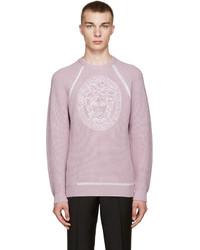 hellvioletter Pullover mit einem Rundhalsausschnitt von Versace