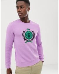 hellviolettes bedrucktes Sweatshirt