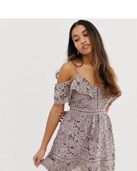 hellviolettes gerade geschnittenes Kleid aus Spitze von New Look Petite