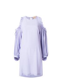 hellviolettes gerade geschnittenes Kleid mit Rüschen von Erika Cavallini