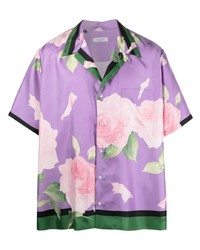 hellviolettes Kurzarmhemd mit Blumenmuster von Valentino