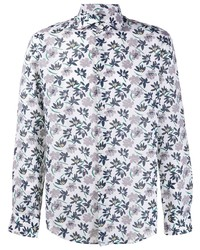 hellviolettes Leinen Langarmhemd mit Blumenmuster von BOSS