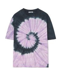 hellviolettes T-Shirt mit einem Rundhalsausschnitt mit Batikmuster