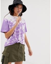 hellviolettes Mit Batikmuster T-Shirt mit einem Rundhalsausschnitt von ASOS DESIGN