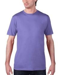hellviolettes T-Shirt mit einem Rundhalsausschnitt von Anvil