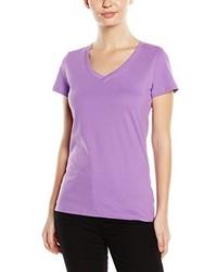 hellviolettes T-Shirt mit einem V-Ausschnitt von Stedman Apparel