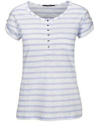 hellviolettes T-shirt mit einer Knopfleiste von Clarina