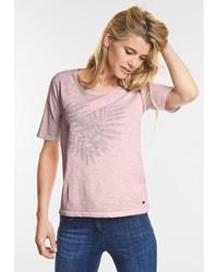 hellviolettes T-Shirt mit einem Rundhalsausschnitt von Cecil
