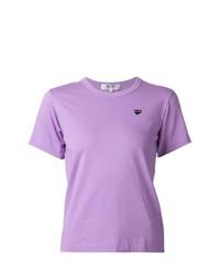 hellviolettes T-Shirt mit einem Rundhalsausschnitt von Comme Des Garcons Play