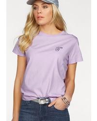 hellviolettes T-Shirt mit einem Rundhalsausschnitt von Lee