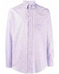 hellviolettes vertikal gestreiftes Langarmhemd von Etro