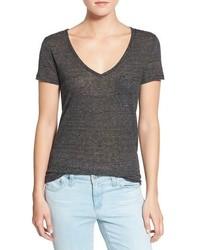 Horizontal gestreiftes t shirt mit v ausschnitt original 1310003