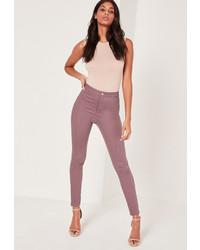 Lila Baumwolle Enge Jeans von Missguided