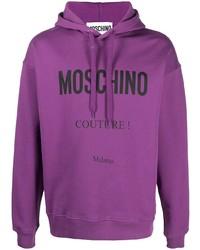 lila bedruckter Pullover mit einem Kapuze von Moschino