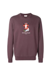 lila bedrucktes Sweatshirt von MAISON KITSUNÉ