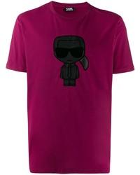 lila bedrucktes T-Shirt mit einem Rundhalsausschnitt von Karl Lagerfeld