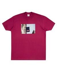 lila bedrucktes T-Shirt mit einem Rundhalsausschnitt von Supreme