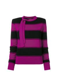 lila horizontal gestreifter Pullover mit einem Rundhalsausschnitt von Marc Jacobs