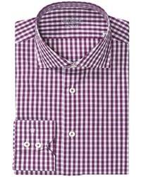 lila Langarmhemd mit Vichy-Muster