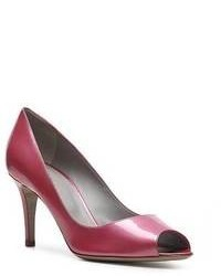 lila Leder Pumps