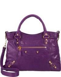 lila Satchel-Tasche aus Leder