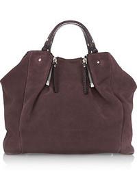 lila Shopper Tasche aus Wildleder