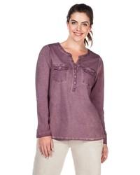 lila T-shirt mit einer Knopfleiste von SHEEGO CASUAL