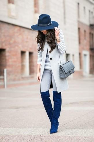 Wie graue gesteppte Leder Umhängetasche mit blauer Stiefel