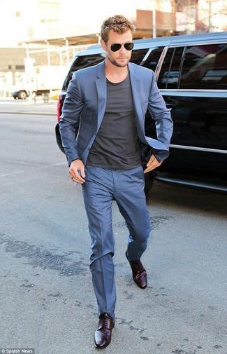 Anzug blauer t shirt mit einem rundhalsausschnitt dunkelgraues derby schuhe dunkellila large 12329