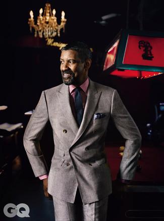 Anzug brauner businesshemd rotes krawatte dunkelblaue large 16564