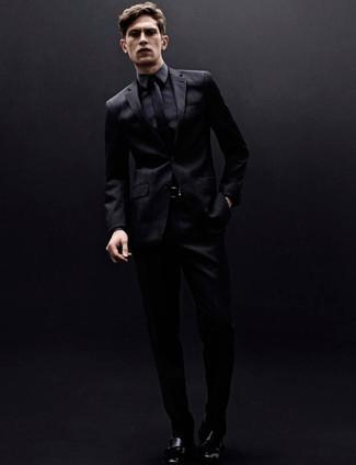 schwarzer Ledergürtel von AMI Alexandre Mattiussi