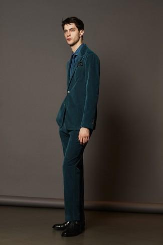 dunkelgrüner Kordanzug, blaues Jeans Businesshemd, schwarze Doppelmonks aus Leder, dunkelblaue Krawatte mit geometrischen Mustern für Herren