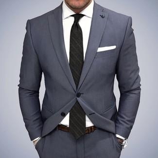 Grauer Anzug, Weißes Businesshemd, Schwarze vertikal gestreifte Krawatte, Weißes Einstecktuch für Herren