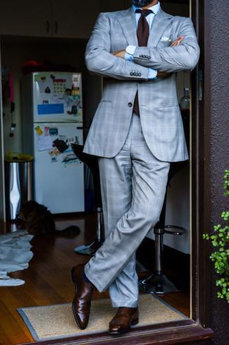 Dunkelblaue Socken kombinieren – 500+ Herren Outfits: Tragen Sie einen grauen Anzug mit Schottenmuster und dunkelblauen Socken für ein Alltagsoutfit, das Charakter und Persönlichkeit ausstrahlt. Fühlen Sie sich ideenreich? Wählen Sie dunkelbraunen Leder Oxford Schuhe.